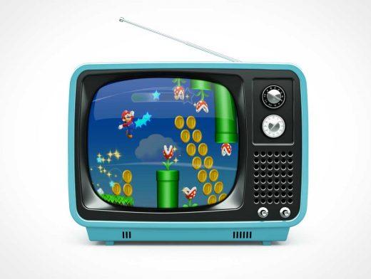 Vintage Retro Knob & Tube Television Set PSD Mockup
