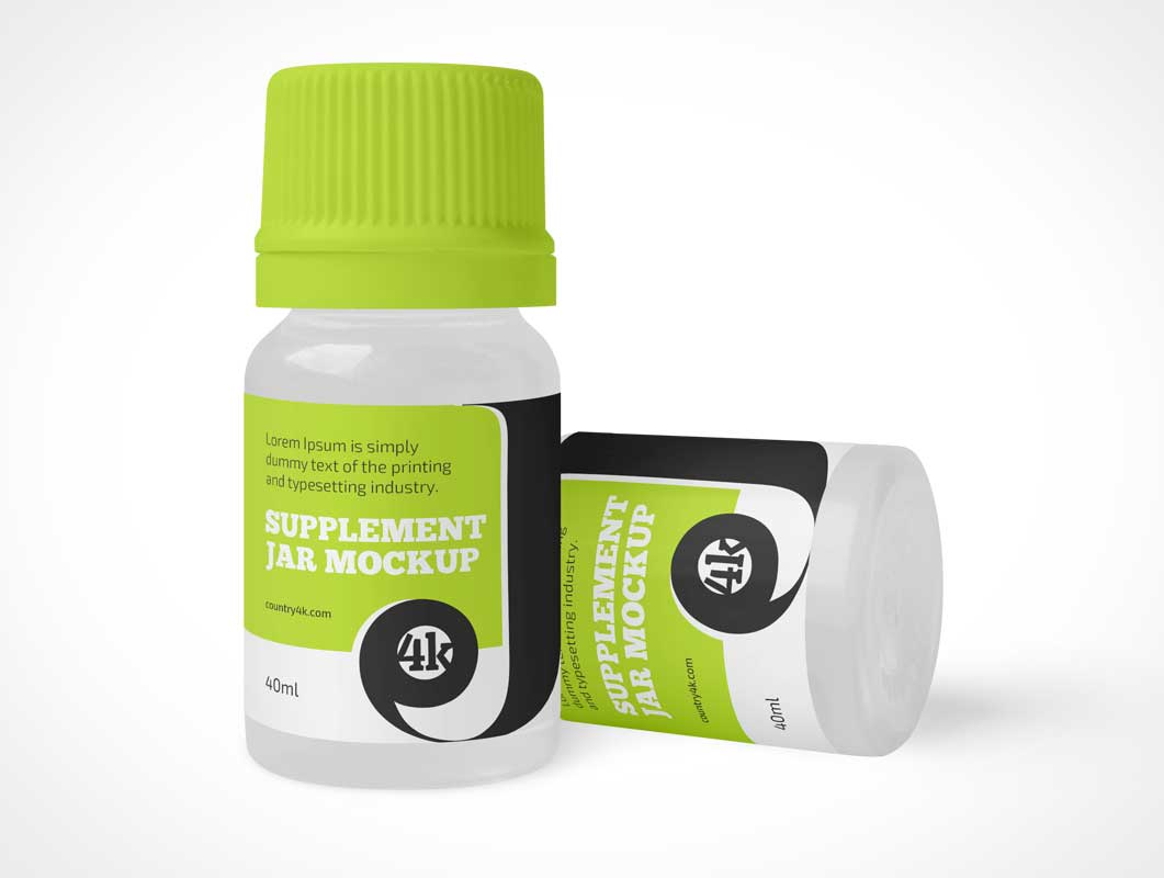 White Plastic Pill Bottle PSD Mockups