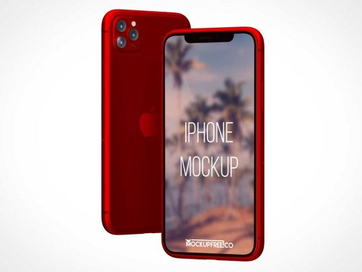 iPhone 11 Pro Smartphone Front & Back PSD Mockup