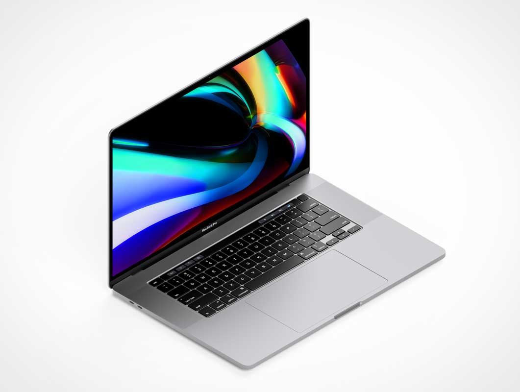 Isometric MacBook Pro 16 Inch Laptop PSD Mockup