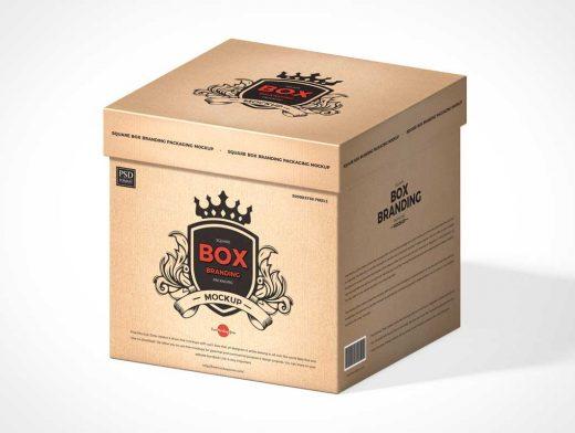 Kraft Square Gift Box & Cardboard Lid PSD Mockup