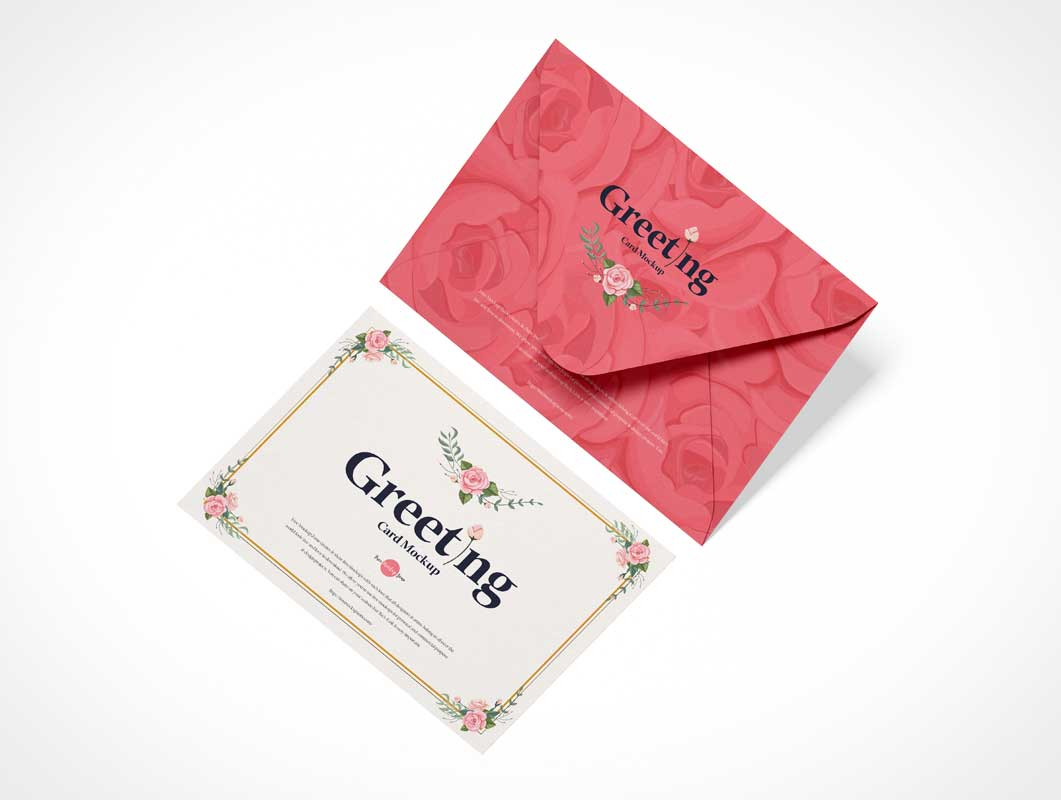 Landscape Greeting Card & Paper Envelope PSD Mockup