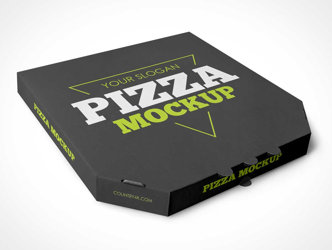 Large Paper Pizza Box PSD Mockup