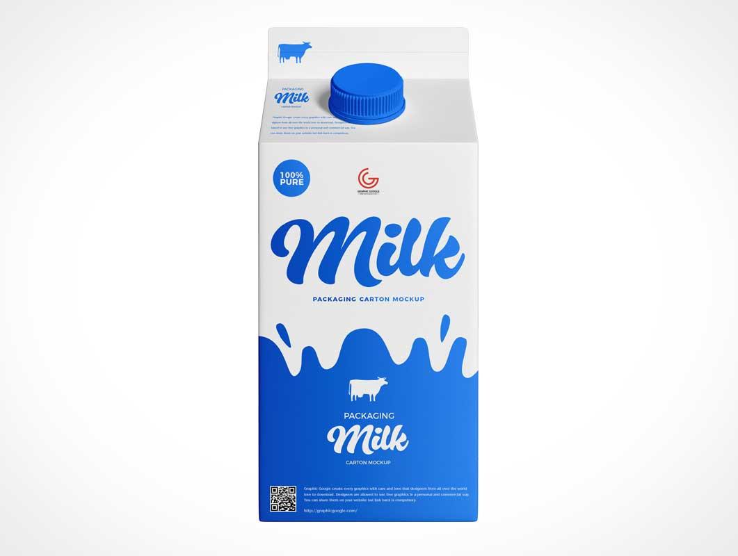 Milk Carton & Pour Spout PSD Mockup