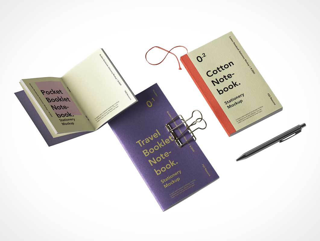 Notebook & Booklet Set PSD Mockup
