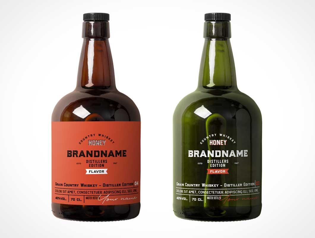 Rum Spirits Glass Bottle PSD Mockup