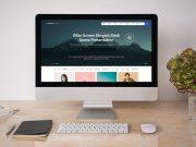 iMac Workspace, Mouse & Keyboard PSD Mockup