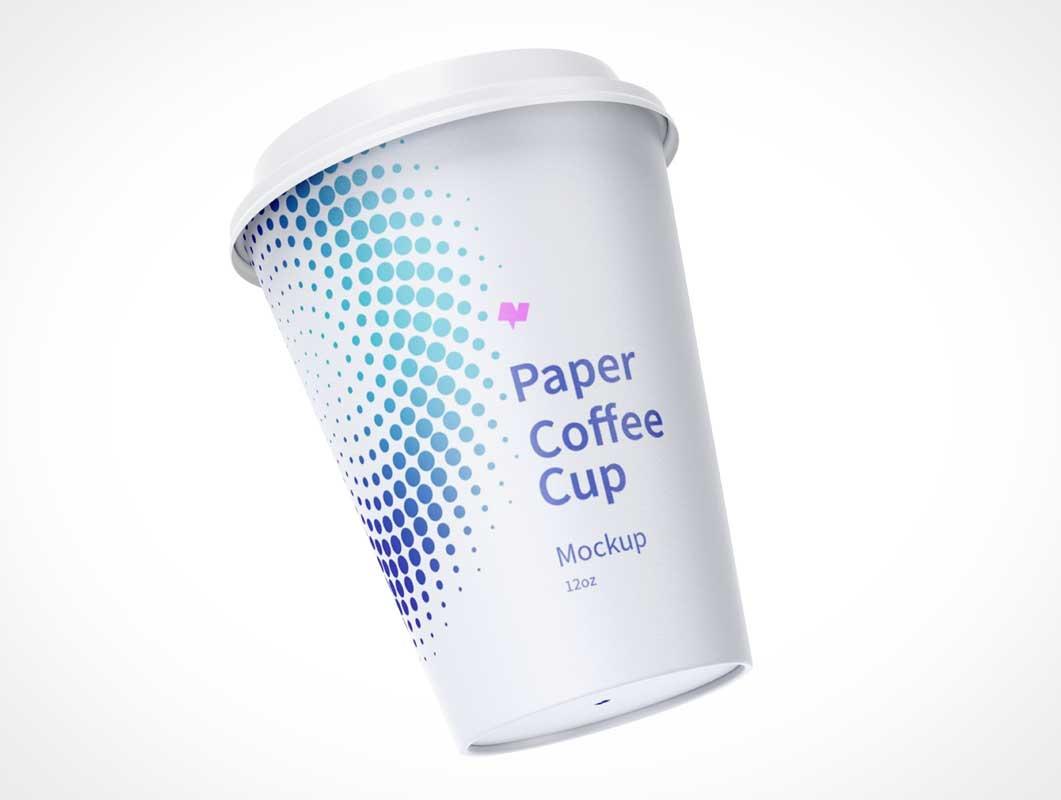 12oz Paper Coffee Cups & Sip Lids PSD Mockup