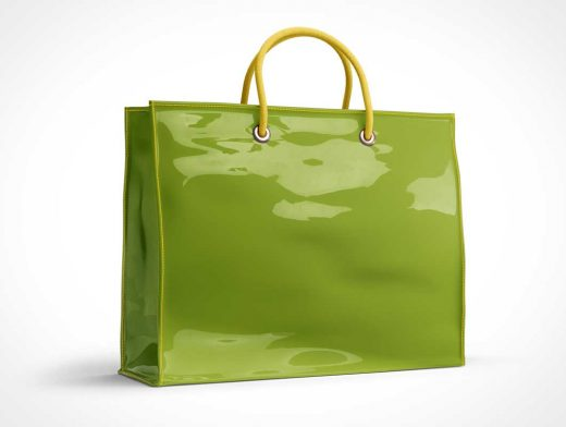 Boutique Vinyl Shopping Bag & Carry Handles PSD Mockup