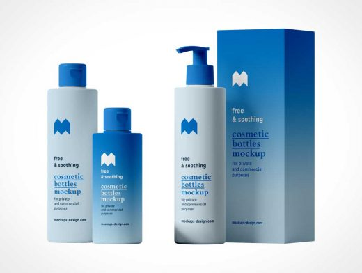 Cosmetic Care Bottles & Packaging PSD Mockup