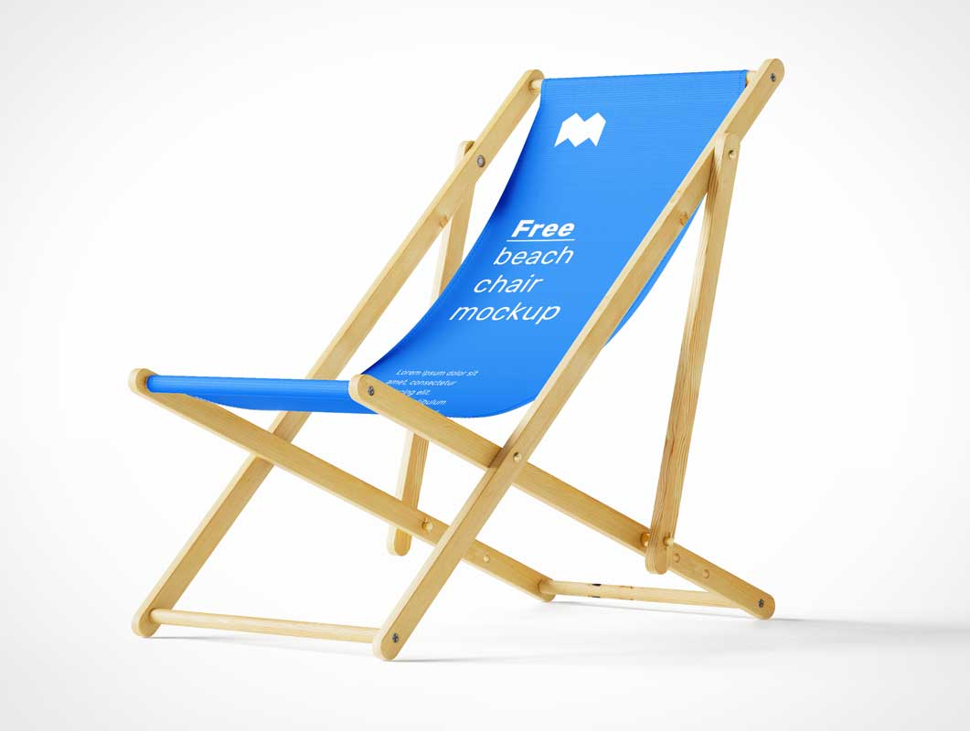 Folding Wooden Beach Sling Chair PSD Mockup