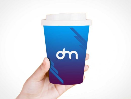 Hand Help Paper Coffee Cup & Sip Lid PSD Mockup