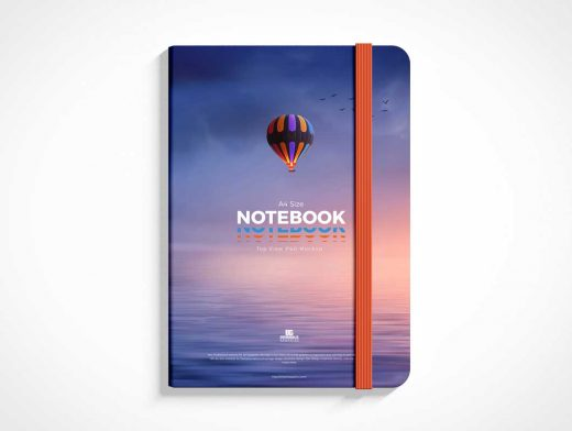 Hardcover Notebook & Bookmark PSD Mockup