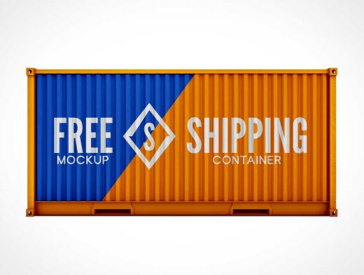 Intermodal Cargo Freight Shipping Containers PSD Mockup