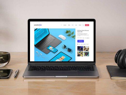 MacBook Pro Workspace, Notebook & Stylus PSD Mockup