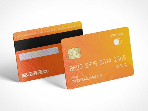 Magnetic Stripe RFID Credit Cards PSD Mockup