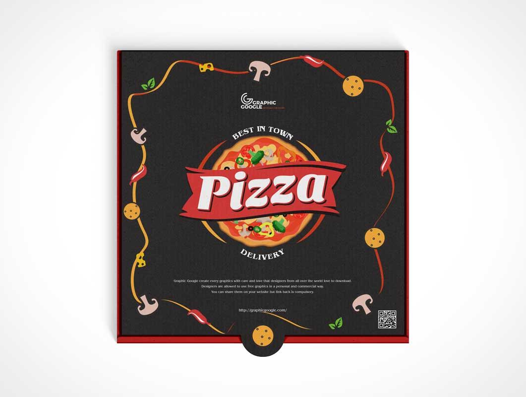 Pizza Box Packaging PSD Mockup