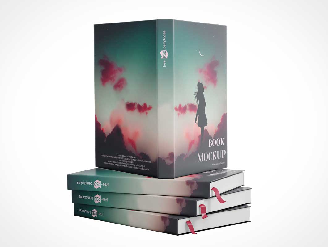 Stacked Hardcover Books PSD Mockup