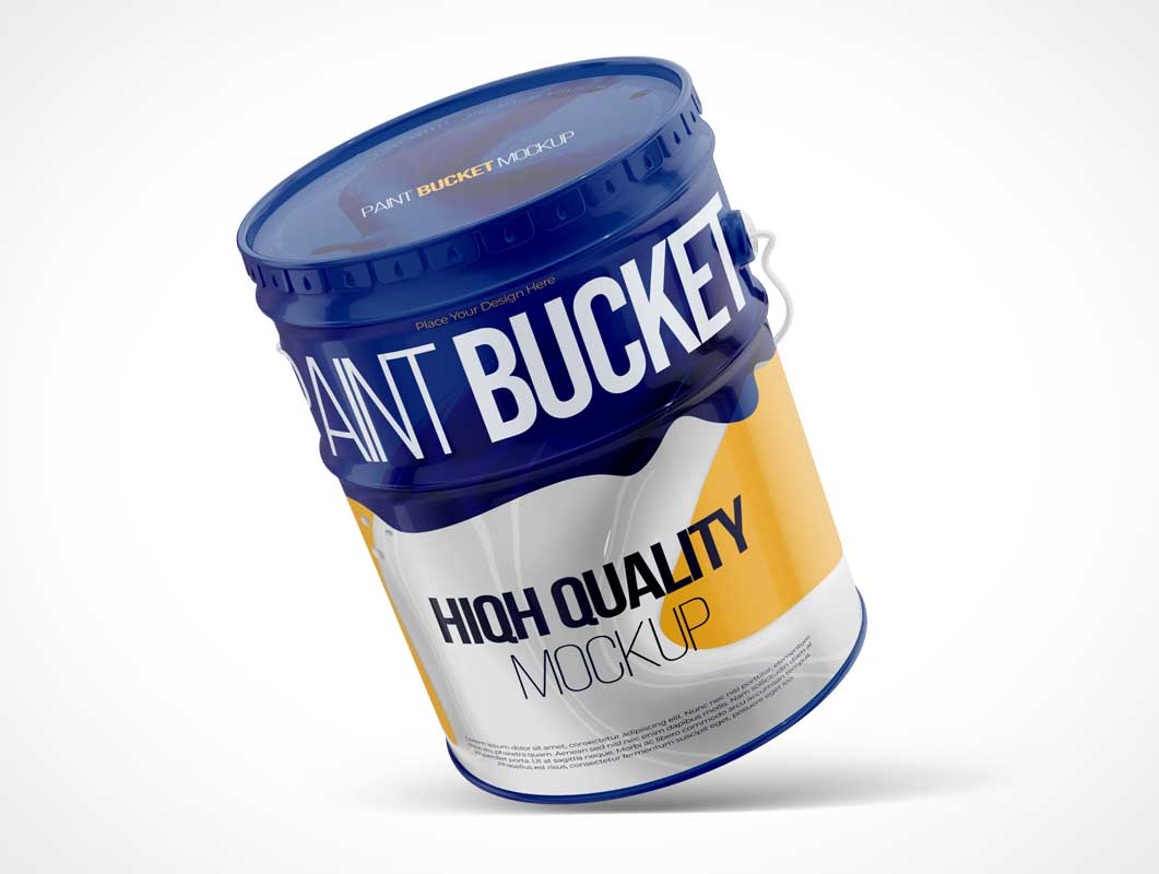Steel Paint Drum Bucket PSD Mockup