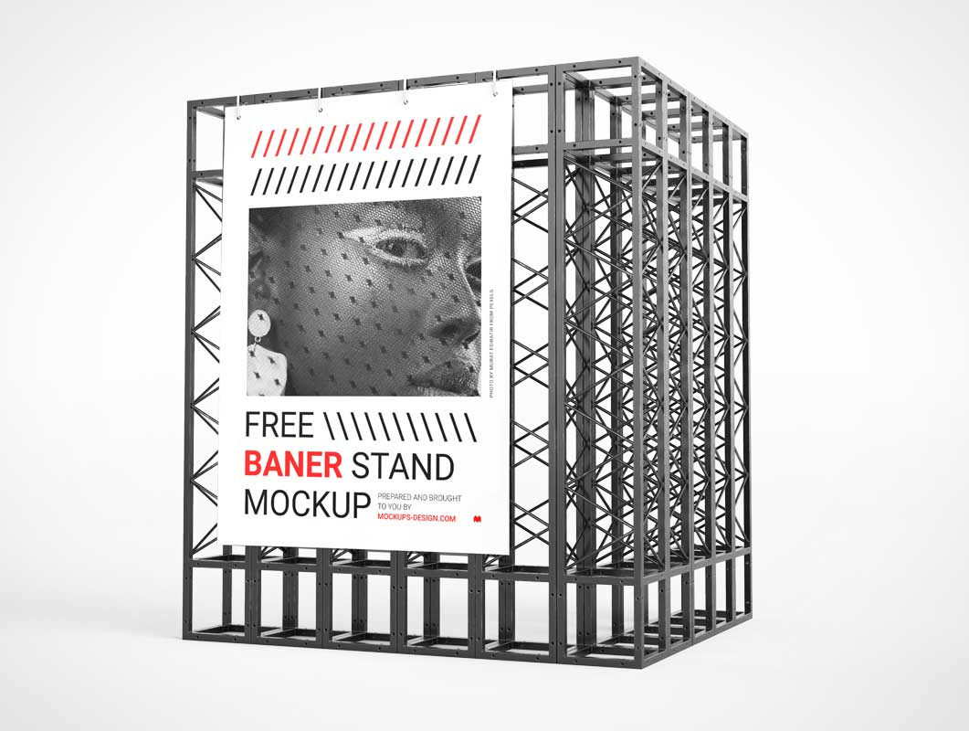 Trade Show Event Banner Display Stand PSD Mockup