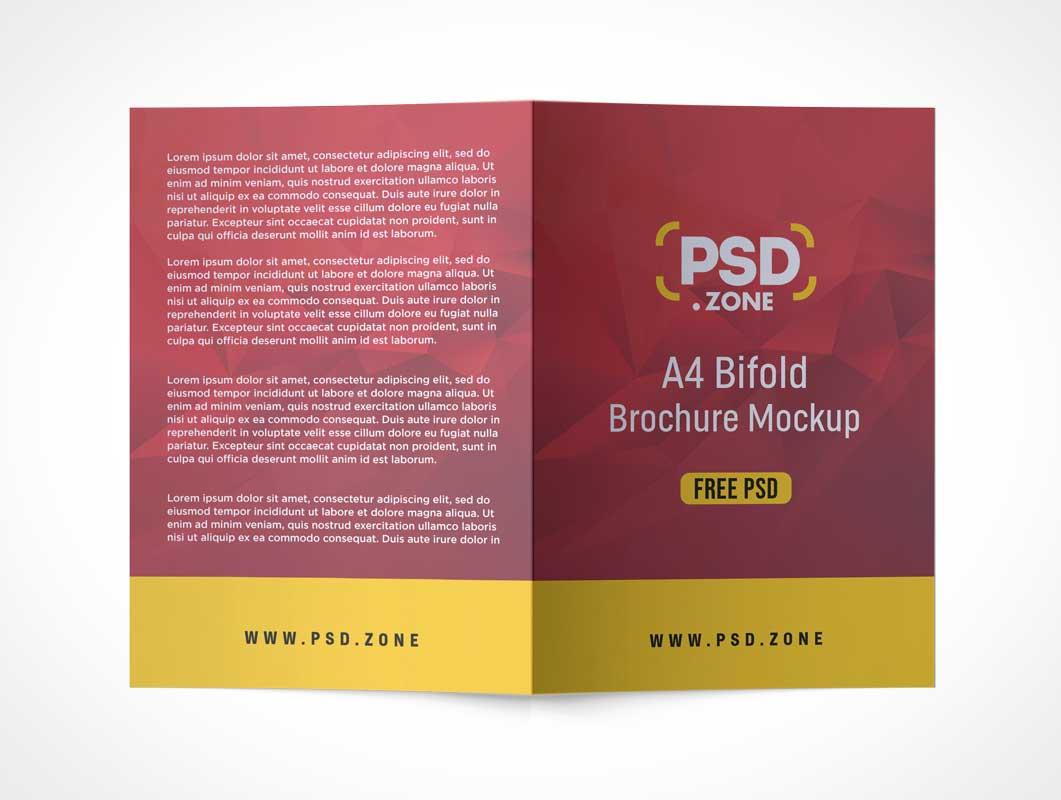 2 Panel A4 Bi-Fold Brochure PSD Mockup
