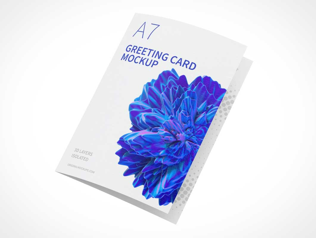 A7 Folded Greeting Card PSD Mockup
