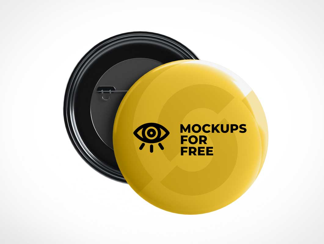 Button Flair Pins PSD Mockup
