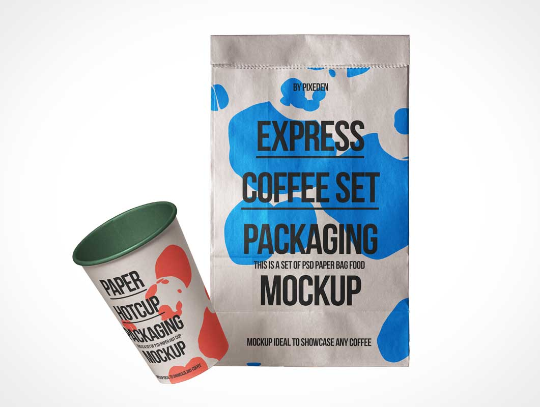Coffee Cup & Take Away Paper Bag PSD Mockup