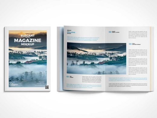 Magazine Cover & Top View Page Spread PSD Mockup