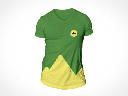 Simple V Neck T-Shirt PSD Mockup