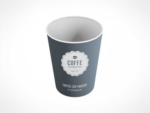 Single Use Paper Coffee Cup PSD Mockup