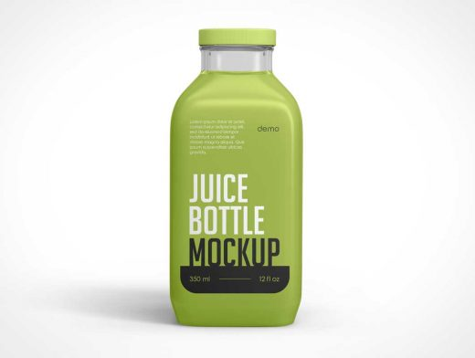Square Juice Bottle PSD Mockup