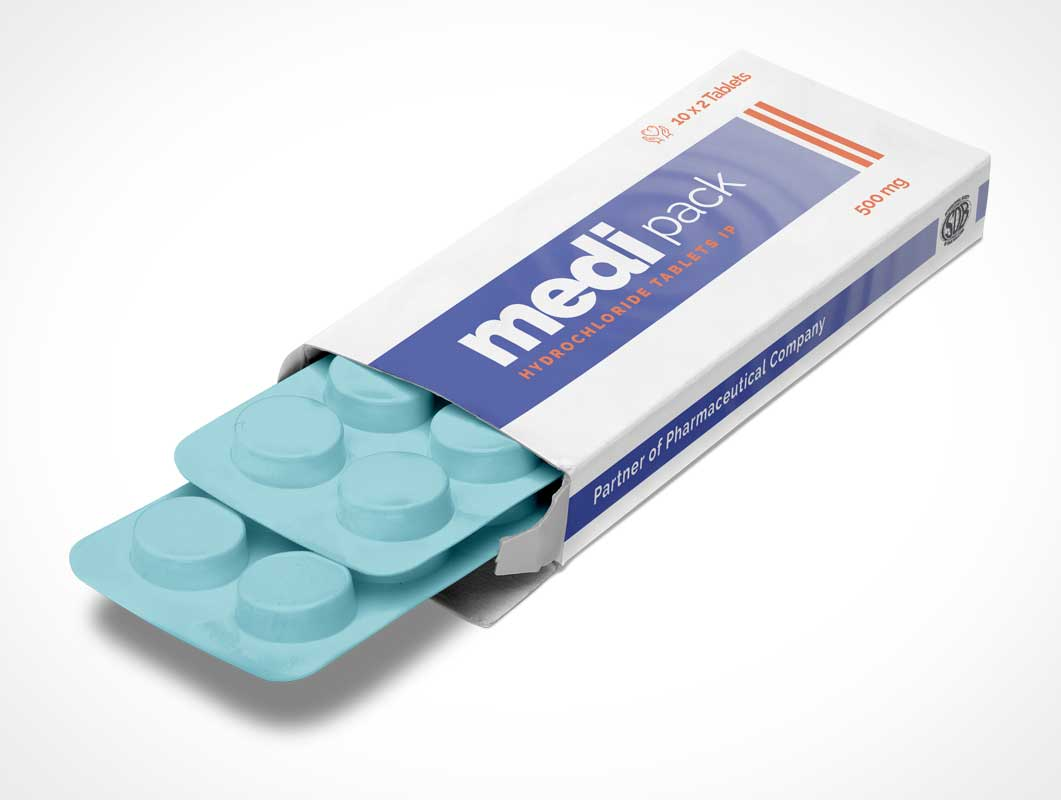 Tablet Strip Pill Box Packaging PSD Mockup