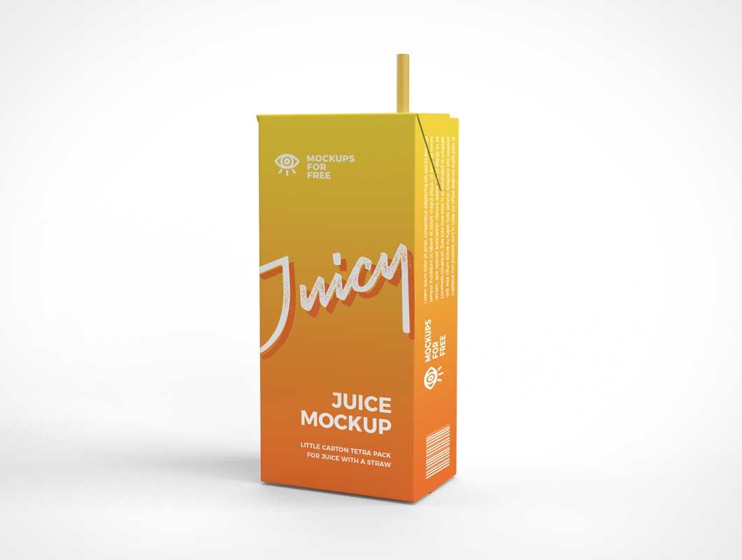 Tetra Pak Juice Box & Straw PSD Mockup
