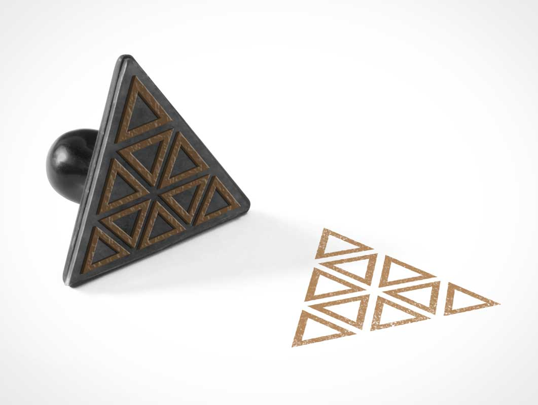 Triangular Ink Rubber Stamp PSD Mockup