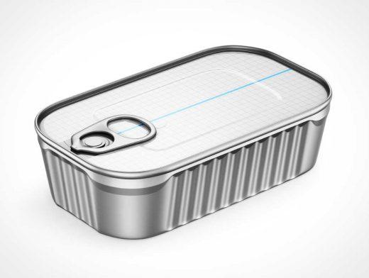 4 Fish Tins & Pull Tab Packaging PSD Mockup