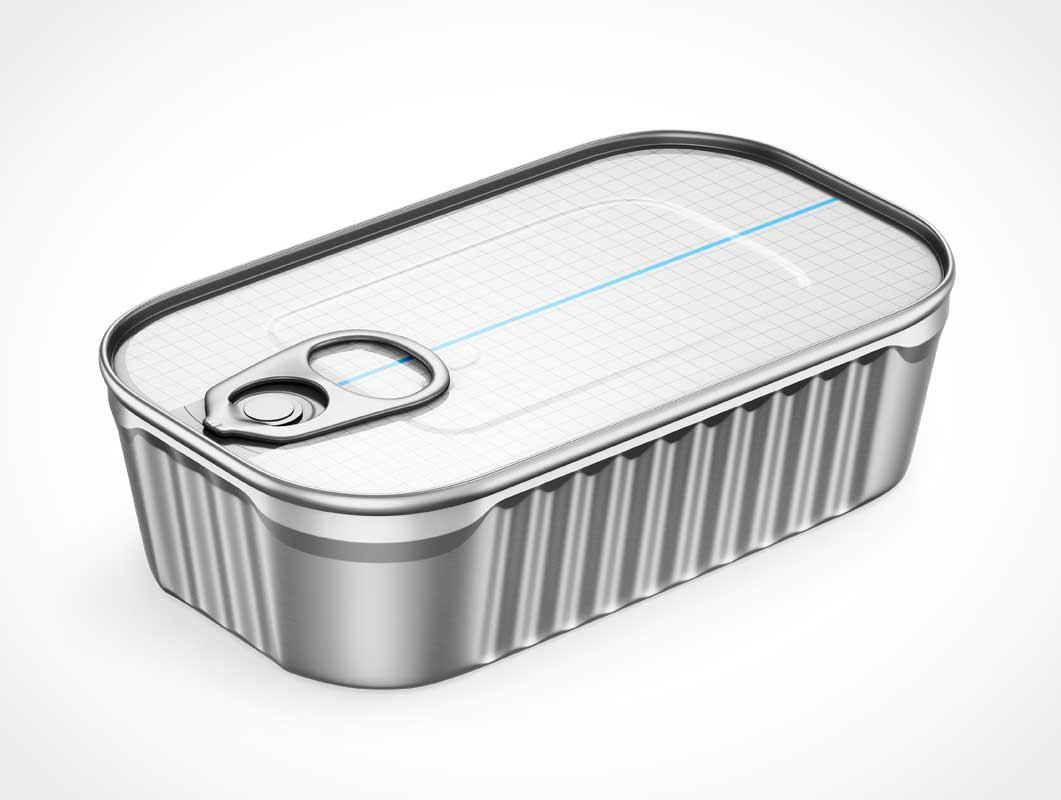 4 Fish Tins & Pull Tab Packaging PSD Mockup