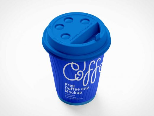Branded Paper Coffee Cup & Sip-Through Lid PSD Mockup
