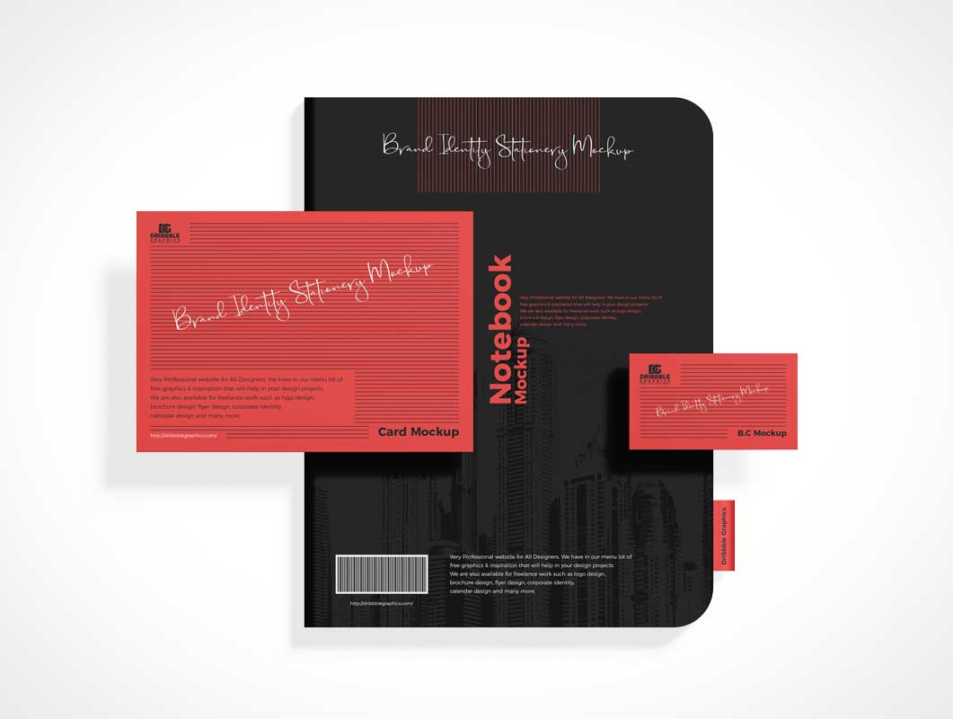 Branded Stationery Notebook & Business Card PSD Mockup