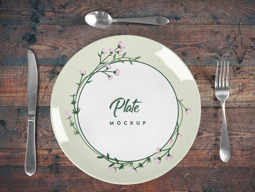 Ceramic Dinner Plate PSD Mockup