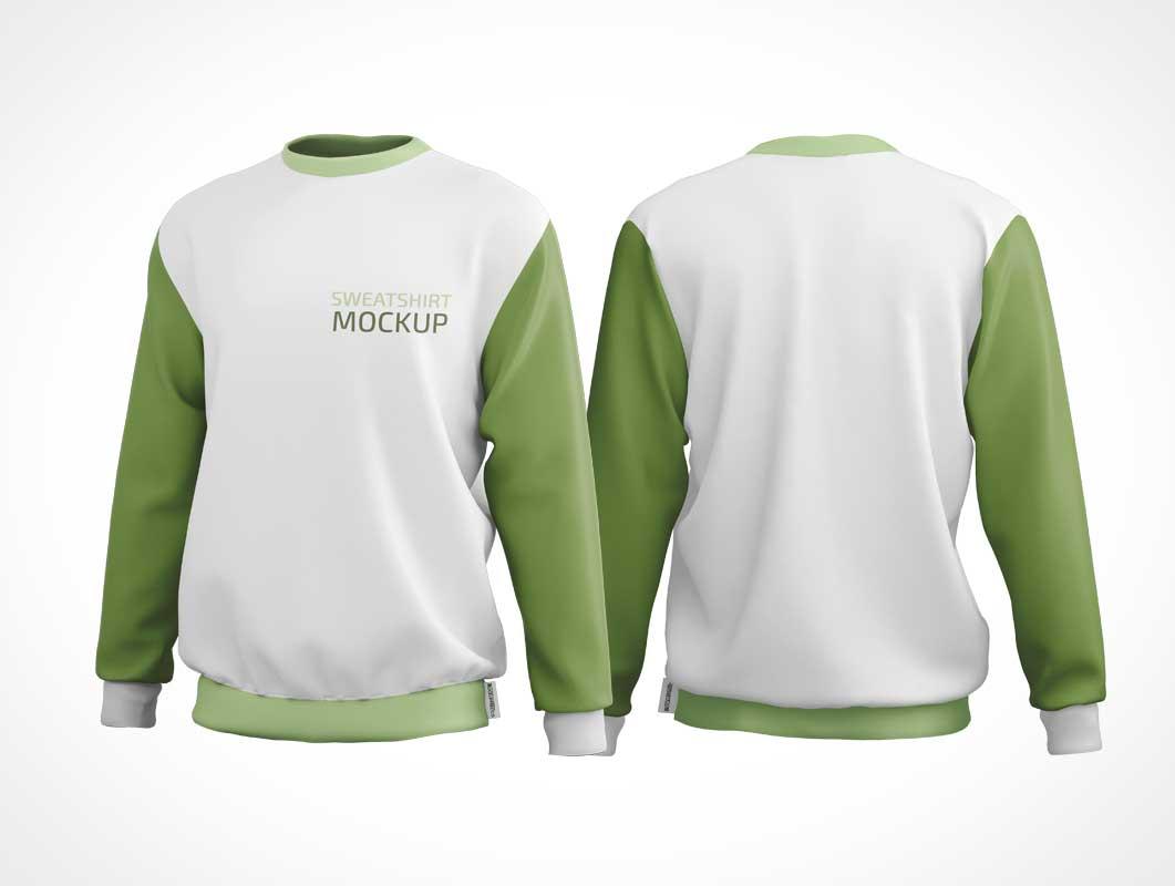 Crewneck Sweatshirt Front & Back PSD Mockup