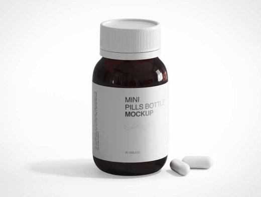 Dark Amber Glass Medicine Pill Bottle PSD Mockup