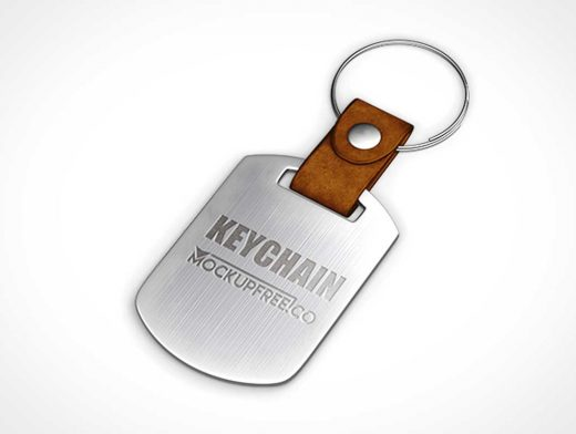 Metal Keychain & Key Ring PSD Mockup