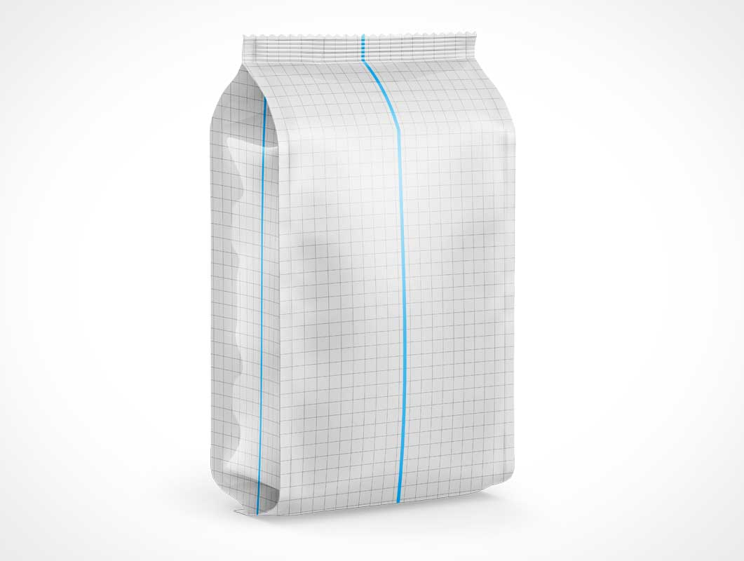 Sealed Vertical Block Bottom Bag PSD Mockup