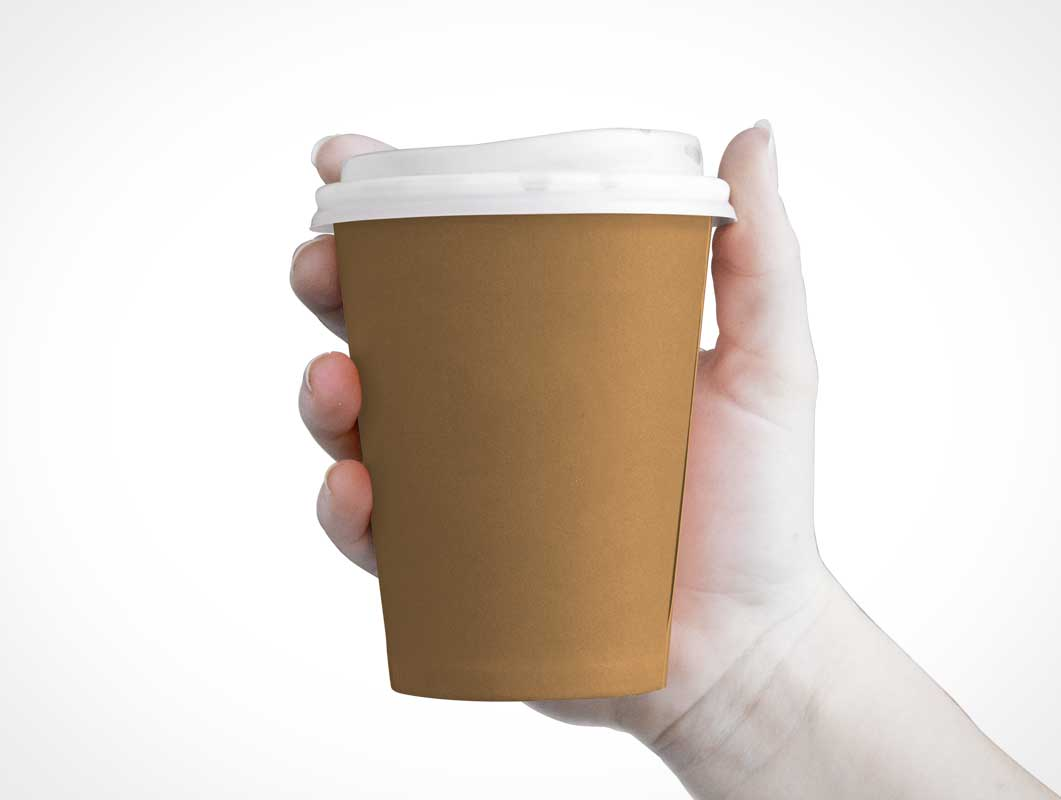 Small Paper Coffee Cup & Sip Lid PSD Mockup