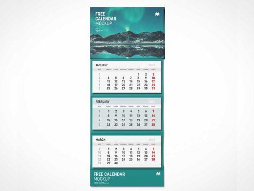 Vertical Wall Calendar PSD Mockup