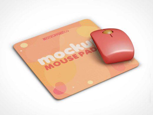 Wireless Mouse & Mousepad PSD Mockup