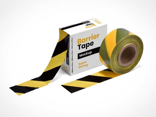 Barrier Tape Roll & Box PSD Mockup