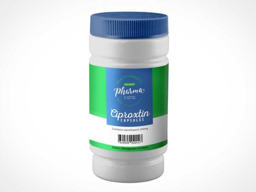 HDPE Pill Medicine Bottle PSD Mockup