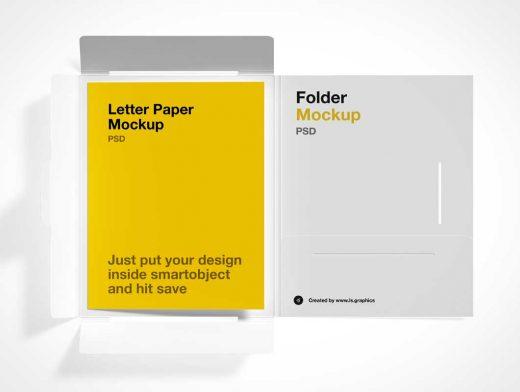 Letter Paper Brochure & Die Cut Packaging PSD Mockup
